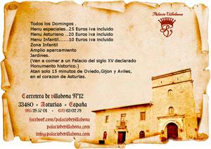 Menús especiales de domingo en el Palacio de Villabona