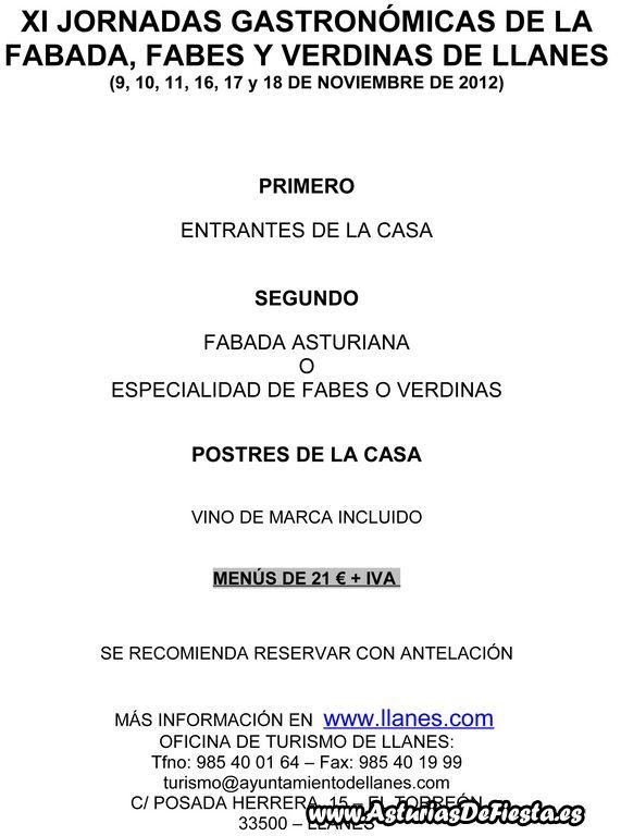MENÚS FABADA, FABES Y VERDINAS 2006